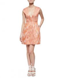 Alice and Olivia Pacey Deep-V Patterned Dress at Neiman Marcus