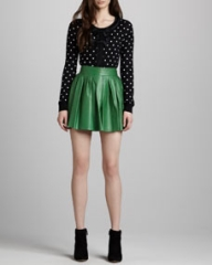 Alice and Olivia Pleated Leather Miniskirt at Neiman Marcus