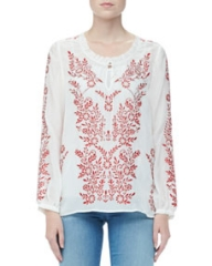 Alice and Olivia Preston Embroidered Voile Top at Neiman Marcus