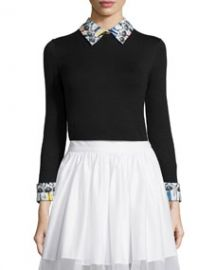 Alice and Olivia Stacey Montage-Trim Pullover Sweater Black at Neiman Marcus