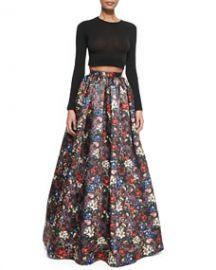 Alice and Olivia Tina Floral-Print Ball Skirt at Neiman Marcus