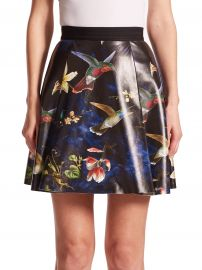 Alice and Olivia Vernon Printed Leather Skirt at Saks Fifth Avenue