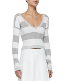 Alice and Olivia Wide-Stripe Cropped Knit Top at Neiman Marcus