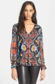 Alice and Olivia and39Deandraand39 Print Pleated Blouse at Nordstrom