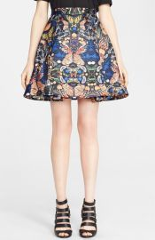 Alice and Olivia and39Nylaand39 Print Pleat Flared Skirt at Nordstrom