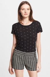 Alice and Olivia and39Robinand39 Embellished Linen Tee at Nordstrom