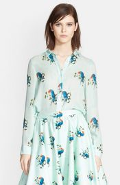Alice and Olivia and39Willaand39 Parrot Print Silk Shirt at Nordstrom