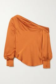 Alice draped one-shoulder satin blouse at Net A Porter