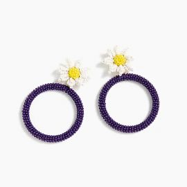 Alison Lou X J.Crew beaded daisy drop-hoop earrings at J. Crew