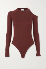 Alix NYC - Eaton cold-shoulder ribbed stretch-modal thong bodysuit at Net A Porter