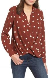 All in Favor Patterned Drape Front Blouse   Nordstrom at Nordstrom