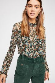 All Dolled Up Blouse in Green Combo at Free People