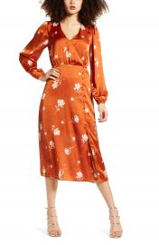 All In Favor Long Sleeve Floral Print Satin Midi Dress   Nordstrom at Nordstrom