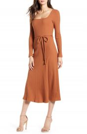 All in Favor Ribbed Long Sleeve Midi Dress   Nordstrom at Nordstrom
