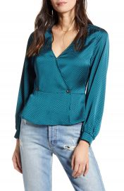 All in Favor Satin Button Peplum Top   Nordstrom at Nordstrom