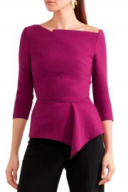 Almeley asymmetric crepe peplum top at The Outnet