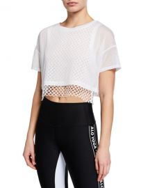 Alo Yoga Afterglow Short-Sleeve Layered Crop Tee w  Mesh at Neiman Marcus