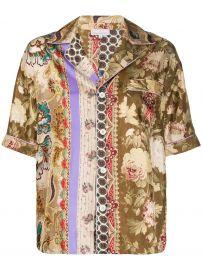 Aloeuw mixed-print silk shirt at Farfetch