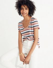 Alto Scoop Tee in Colborne Stripe at Madewell