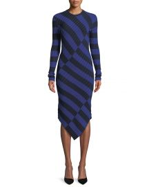 Altuzarra Whistler Asymmetric Wide-Stripe Fitted Knit Dress   Neiman at Neiman Marcus