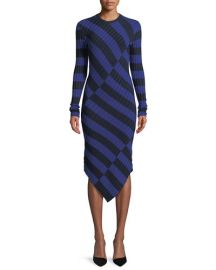 Altuzarra Whistler Asymmetric Wide-Stripe Fitted Knit Dress at Neiman Marcus