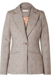 Altuzarra - Embroidered checked wool-blend blazer at Net A Porter