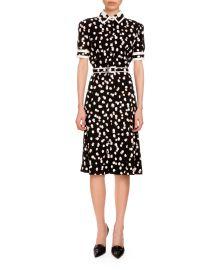 Altuzarra Ella Polka-Dot Short-Sleeve Shirtdress  Black at Neiman Marcus