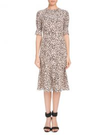 Altuzarra Jae Shirred-Neck Short-Sleeve Leopard-Print Silk Dress at Neiman Marcus