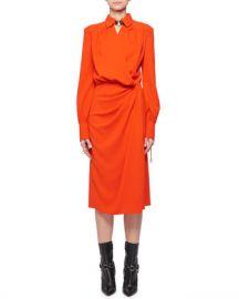 Altuzarra Kat Long-Sleeve Wrap Side-Drape Shirtdress at Neiman Marcus