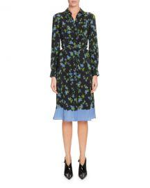 Altuzarra Long-Sleeve Button-Front Floral-Print Silk Dress at Neiman Marcus