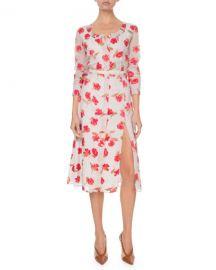 Altuzarra Long-Sleeve Floral V-Neck Dress at Neiman Marcus
