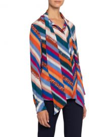 Altuzarra Newberry Chevron-Striped Chiffon Tie-Neck Blouse at Neiman Marcus