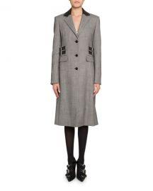 Altuzarra Plaid Leather-Collar Single Breasted Coat at Neiman Marcus