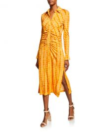 Altuzarra Ruched Gingham Long-Sleeve Shirtdress at Neiman Marcus