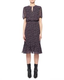 Altuzarra Short-Sleeve Floral-Print Silk Dress at Neiman Marcus