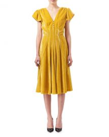 AltuzarraCamilla Cap-Sleeve Velvet Midi Dress at Neiman Marcus