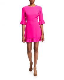 Amanda Uprichard Candice 3 4-Sleeve Flounce Dress at Neiman Marcus