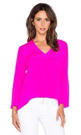 Amanda Uprichard Heather Long Sleeve Top Hot Pink Light from Revolve com at Revolve
