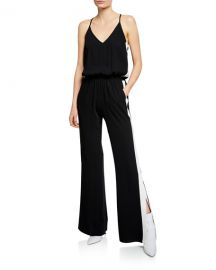 Amanda Uprichard Side-Stripe Sleeveless Track Jumpsuit at Neiman Marcus