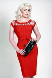Amazoncom Alika Red Retro Inspired Pencil Wiggle Dress Clothing at Amazon