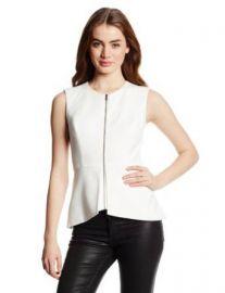 Amazoncom BCBGMAXAZRIA Womenand39s Abrielle Sleeveless Peplum Top White X-Small Clothing at Amazon