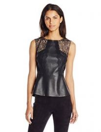 Amazoncom BCBGMAXAZRIA Womenand39s Laine Faux Leather Top with Lace Clothing at Amazon