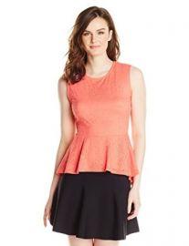 Amazoncom BCBGMAXAZRIA Womenand39s Lynaand39 Sleeveless Peplum Top Clothing at Amazon