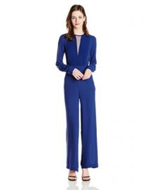 Amazoncom BCBGMAXAZRIA Womenand39s Marcee Long Sleeve Chiffon Front Jumpsuit Clothing at Amazon