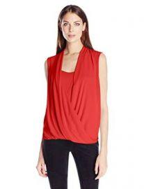 Amazoncom BCBGMAXAZRIA Womenand39s Raychel Short Sleeve Drape Front Blouse Clothing at Amazon