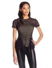 Amazoncom BCBGMAXAZRIA Womenand39s Vicktoria Stretch-Lace Peplum Top Clothing at Amazon