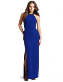 Amazoncom BCBGMAXAZRIA Womenand39s Viviane Halter Evening Gown With Beaded Necklace Blue Sapphire 0 Clothing at Amazon