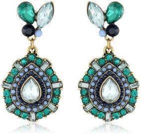 Amazoncom Betsey Johnson Womenand39s Summer Stone Blast Stone Drop Earrings BlackWhite Drop Earrings Jewelry in blue at Amazon