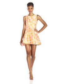 Amazoncom Cynthia Rowley Womenand39s Cherry Blossom Jacquard Fit and Flare Dress Clothing at Amazon