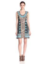 Amazoncom Nanette Lepore Womenand39s Safari Zebra Print Mix Sweater Dress Clothing at Amazon